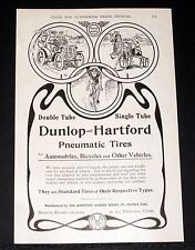 1903 OLD MAGAZINE PRINT AD, DUNLOP-HARTFORD PNEUMATIC TIRES, AUTOMOBILE BICYCLE!