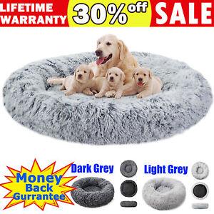 S-XL Pet Dog Cat Calming Bed Comfy Shag Fluffy Warm Bed Nest Mattress Donut Pad