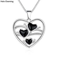 Best Quality Fashion Jewelry Heart Necklace Silver Plated Hollow Enamel 45cm