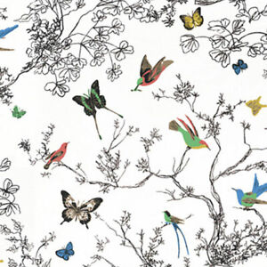 F Schumacher - Birds and Butterflies in Multi on White. Remnant piece .75 Yds