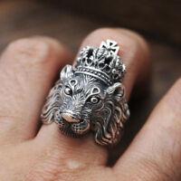 Vintage Silver Lion Head Cross King Crown Men Animal Fashion Jewelry Punk Ring