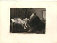 Stampa antica IL PROFETA ELISEO e la Sunamita Bibbia 1857 Old antique print