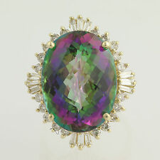 Mystic Topaz Halo Cocktail Ring - 14k Yellow Gold Chunky Statement Oval 37.54ctw