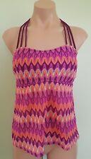 Hula Honey crochet lace wine purple tankini top XL juniors