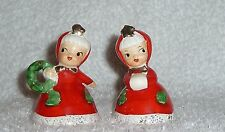 Vintage Norcrest Christmas Pixie Girls Bell Figurines Red Wreath Japan Napco
