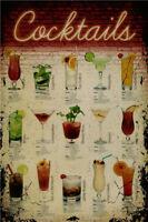 Metal Tin Sign cocktails  Pub Home Vintage Retro Poster Cafe ART
