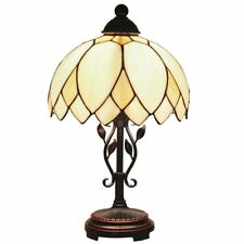 Bieye 10-inch Lotus Tiffany Style Curving Stained Glass Table Lamp