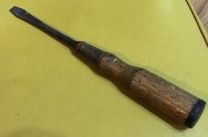 """Vintage Bridgeport USA Bell System Flat Tip 11.5"""" Wood Handle Screwdriver No 40"""