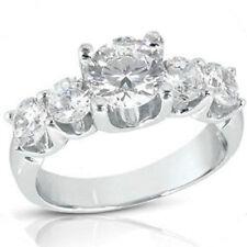2.51 ct, 1.25 ct center, 5 Round Natural DIAMOND ENGAGEMENT Wedding RING U BAND