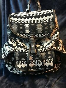 Black & White Southwestern Print Fabric Backpack w/ Drawstring and Snap Flap