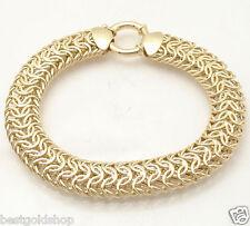 "7.25"" Bold Mirror Byzantine Bracelet with Senora Clasp REAL 14K Yellow Gold"