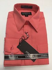 NWT Boys Dress shirts long sleeves size 4-20 Coral Pink Lilac Yellow more colors