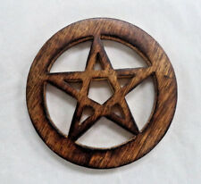 "4"" Pentagram Altar Tile, Wooden Carved and Stained (Wicca Pagan Pentacle)"