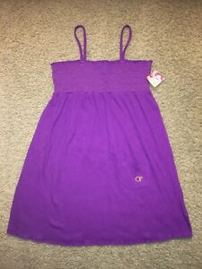 Girl's Op swim cover-up / purple crinkle smocked dress~ Size XL (14-16)