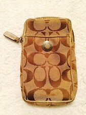 COACH Wristlet Wallet Cell Phone Holder - Brown / Beige