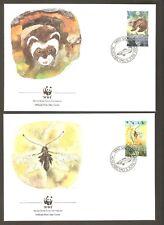1989   LIECHTENSTEIN  -  4 x WWF FIRST DAY COVERS  -   ENDANGERED SPECIES