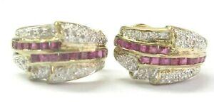 Ruby & Diamond Yellow Gold Huggie Earrings 14Kt 1.00Ct 42Ct 19mm