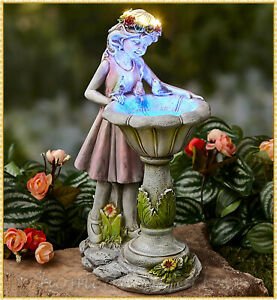 Girl w/ Solar Bird Bath Garden Figurine Sculpture Outdoor Yard Statue Art Decor