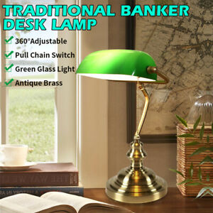 Antique Brass Traditional Banker Desk Lamp Pull Chain Switch Green Glass Light