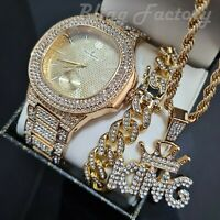 "MEN HIP HOP GOLD PT WATCH & ICED CUBAN BRACELET & CROWNED KING 24"" NECKLACE"