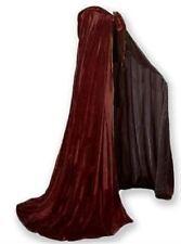 "Brown Velvet Cloak Lined Satin Cape Men Women Hooded Victorian Medieval 62"" Long"