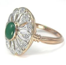 Green Onyx Russian Style Ring #r1994 14k Solid Rose and White Gold Genuine