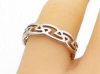 925 Sterling Silver - Vintage Shiny Celtic Knot Pattern Band Ring Sz 8.5- RG3549