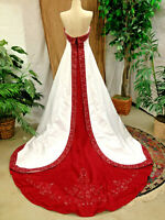 ALFRED ANGELO WEDDING DRESS GOWN CLARET TRIM SZ 8 PRE-OWNED RENAISSANCE FAIR