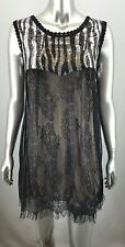 YUMI Black Lace Dress Champagne Liner Silver Sequin Bust Size MEDIUM M