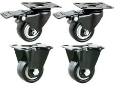4x45kg Schwerlastrollen: 2 Lenk mit Bremse + 2 Bock, Ø40mm Gummi Räder 02128