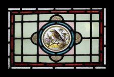 Stunning Victorian Painted Lakeland Bird Antique Stained Glass Window