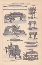 Lederherstellung Gerberei Lederhammer HOLZSTICH von 1894 Spaltmaschine Korkholz