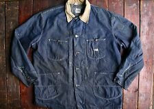 VTG 70s LEE INDIGO DENIM BLANKET LINED CHORE BARN COVERALL JACKET WORK USA 48 XL