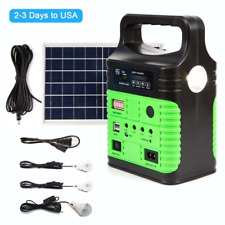 Solar Power Panel Generator LED Light USB Charger System FM Outdoor Garden US