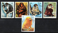 SHARJAH 1971 MONKEY / APE SET OF ALL 5 COMMEMORATIVE VALUES STAMPS CTO