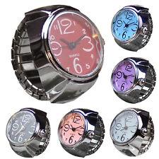 Unisex Dial Quartz Analog Stainless Steel Cool Elastic Quartz Finger Ring Watch