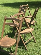 Stakmore MidCentury Modern designer Antique Wood Metal Folding chairs 6 England