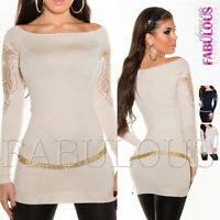 Women's Crochet Lace Sweater Jumper Dress Top Size 10 8 6 US Size 4 2 6 / XS S M