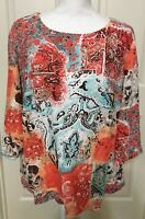 Women's Choices size 1X coral blue brown floral 3/4 sleeve linen top