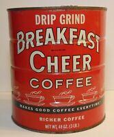 Vintage 1960s BREAKFAST CHEER GRAPHIC 3 POUND COFFEE TIN LEETSDALE PENNSYLVANIA