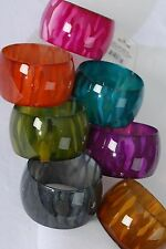 Bulk Lot 12 Bracelet Bangles Acrylic Wide Fall Colors Stripe Print Assorted