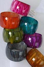 Bulk Lot 12 Bracelet Bangles Acrylic Wide Fall Colors Stripe Print Assorted