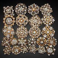 24pc/lot Mixed Alloy Gold Rhinestone Crystal Brooches Pins DIY Wedding Bouquet
