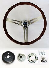 """Low Gloss Wood Steering Wheel to fit Ididit Flaming River Column 15"""" Ford cap"""
