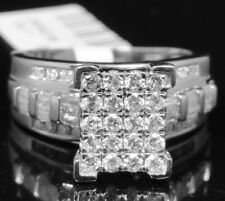 10K White Gold Big Top Round Cut Genuine Diamond Cinderella Engagement Ring .90c