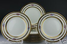 Cauldon Brown-Westhead Moore 12 Painted Floral Gold Gilt Dessert Plate Plates