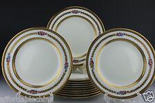 Cauldon Brown-Westhead Moore 12 Painted Floral Gold Gilt Dessert Plate Plates