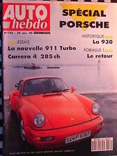 revue 1990 PORSCHE 911 TURBO + 930 + CARRERA 4 ALMERAS / auto hebdo