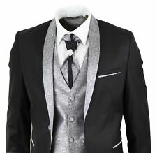 Mens 4 Piece Wedding Suit Groom Shawl Collar Vintage Black Silver Cravat Tailor