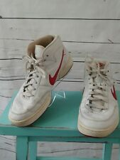 """Nike White Leather High Top Athletic """"Swoosh"""" Shoes Mens Size US 10.5"""